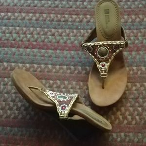 "White Mountain beaded sandals. 3"" heels"